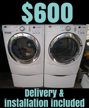 Maytag 5000 Series MCT Super Capacity Stackable Washer and Gas Dryer with Pedestals for Sale in Downey, CA