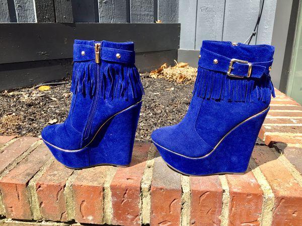 Blue Fringe Wedge Womens Boots