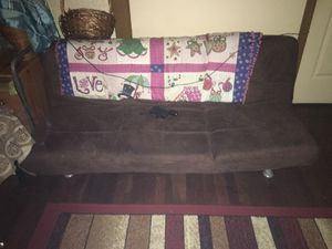 Brown suede futon 30 pick up in Newark for Sale in Irvington, NJ