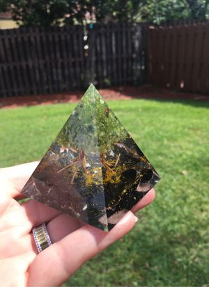 Orgonite Pyramide Tree out of copper 3 inches layers Gemstones Pebbles and Powder in layers embedded in resin copper too for Sale in Tampa, FL