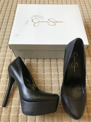 Jessica Simson Black lether heels shoes for Sale in Hayward, CA