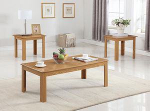 Brand New 3 Piece Oak Parquet Coffee Table Set for Sale in Silver Spring, MD