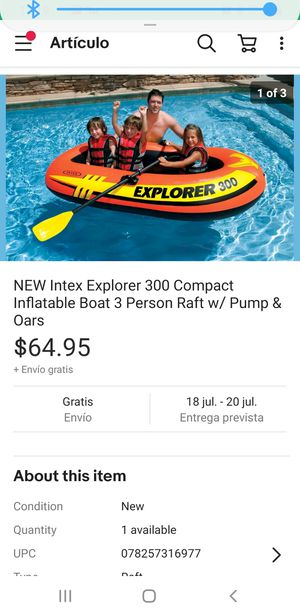 NEW Intex Explorer 300 Compact Inflatable Boat 3 Person Raft w/ Pump & Oars for Sale in Kannapolis, NC