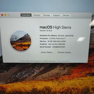 "Loaded 2013 Apple MacBook Pro Retina 15"" i7 16GB 2.3gyz 512GB SSD Laptop PC for Sale in Richmond, VA"
