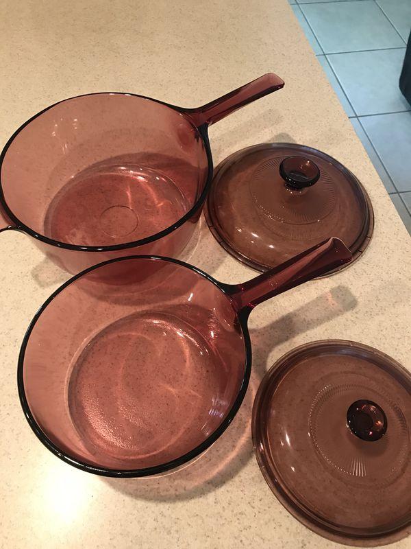 Vintage Pyrex Vision Burgundy Saucepans W/Lids 2.5L & 1L