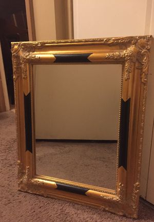 Gold Framed Wall Mirror w/Black Accents for Sale in Belleair, FL