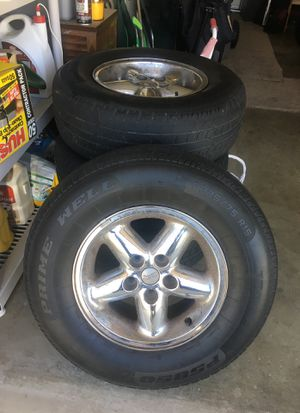 5 lug jeep wheels and tires rims stock for Sale in Modesto, CA