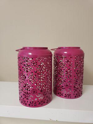 Pink Metal Lanterns Lattice Filigree Mehndi Indian Moroccan Starry Night for Sale in Bristol, CT