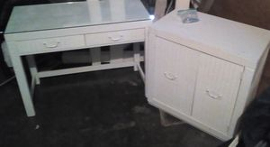 Matching Set: White Desk with Glass Top And Cabinet with double doors & 2 shelves inside. for Sale in Montesano, WA