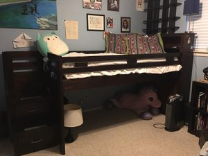 Loft bed with stairs and drawers - solid wood for Sale in Austin, TX