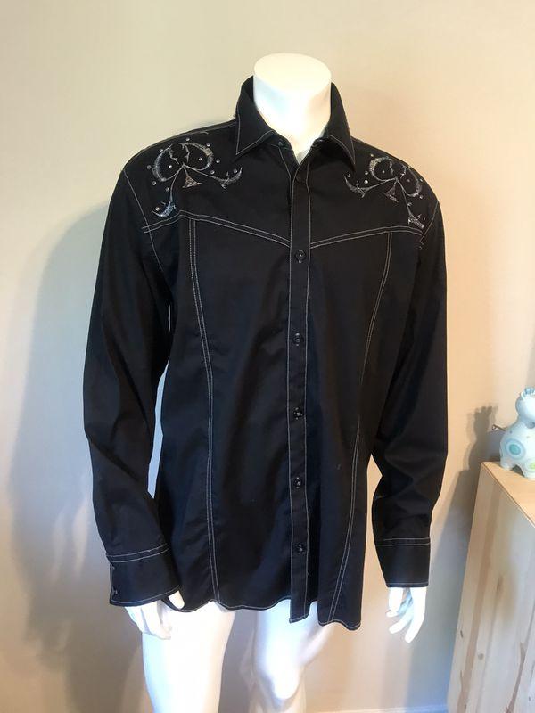 Men's Longsleeve Black Signature Roar Designer Shirt