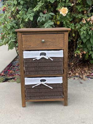 4 Layer 4 Drawers Night Stand Bedside End Table Organizer Bedroom Wood w/ Basket for Sale in Chino Hills, CA