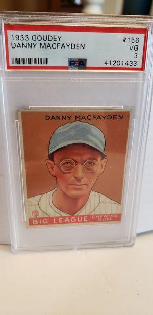 1933 GOUDEY DANNY MACFAYDEN - PSA 3 Gum Baseball Card for Sale in Lorain, OH