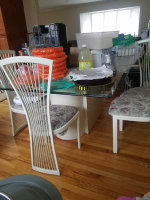 Glass dining table and chairs for Sale in Brooklyn, NY