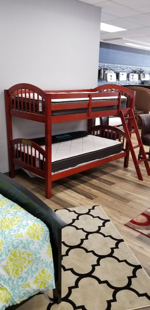 NEW CHERRY TWIN/TWIN STACKABLE BUNK BED for Sale in Charleston, SC