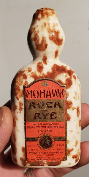 Antique Mohawk Rock and Rye stoneware whiskey bottle 1/16th of a pint (paper label) for Sale in Columbus, OH