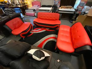 SPECIAL DEAL!! 3pcs living room set • Red & Black • Free Financing• Available to Same day Delivery! 🚚 for Sale in Las Vegas, NV