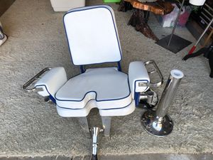 Brand new Pompanette fighting chair , no foot rest just chair pedestal and base plate for Sale in Costa Mesa, CA