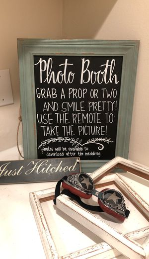Wedding photo booth sign and props for Sale in Huntington Beach, CA