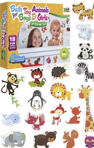 3 Bees & Me Animal Bath Toys for Boys and Girls – Fun Foam Animals with Bath Toy Storage Bag – 18 Piece Non Toxic Kids Bath Set for Sale in Piscataway, NJ