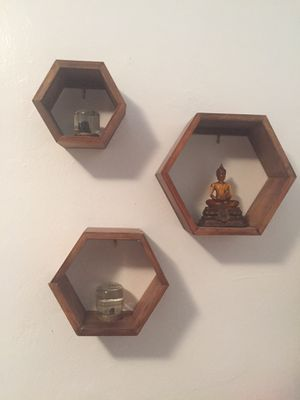 Wall art wood shelves hexagon set of 3 light dark bamboo for Sale in Miami, FL