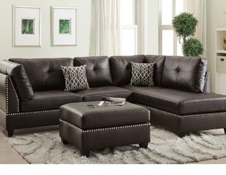 Espresso Bonded Leather Sofa Sectional Couch No Credit Check No Credit Needed Apply Today for Sale in Downey,  CA