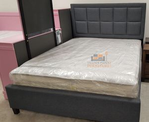 Brand New Queen Size Grey Upholstered Platform Bed + Mattress for Sale in Wheaton-Glenmont, MD