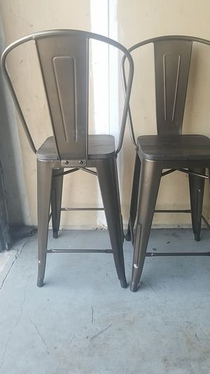 Pair of Metal and Wood 24 in High Chairs for Sale in Alexandria, VA