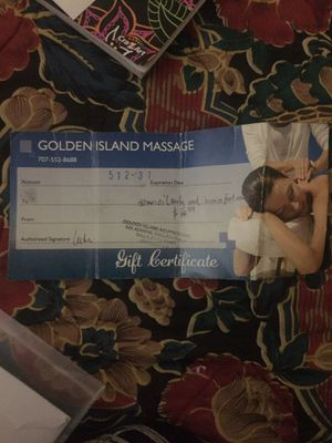 GOLDEN ISLAND MASSSGE gift certificate for Sale in Vallejo, CA