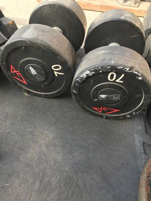 70lb rubber dumbbells for Sale in Upland, CA