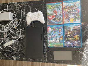 Nintendo Wii U console, 4 games (Mario Kart 8, Super Smashbros), w/ extra controller for Sale in Seattle, WA