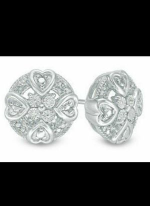 Brand New Genuine Diamond Round Mini Hearts Earrings. for Sale in Mesa, AZ