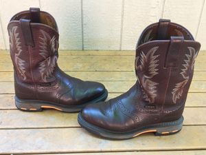 ARIAT WORKHOG FULL GRAIN LEATHER WESTERN PULL ON WELLINGTON WORK BOOTS SIZE 9 EE for Sale in Puyallup, WA