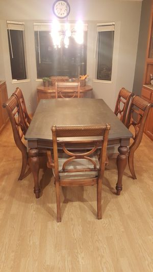 Nice wood kitchen table and 6 chairs - Ashley Furniture for Sale in Wilton, CA