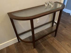 Walnut and glass console table for Sale in San Jose, CA