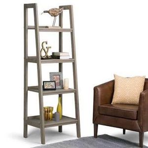 """WAUCONDA: NEW 72"""" x 24"""" Solid Wood Ladder Shelf, Distressed Gray, 4 Tiers for Sale in Wauconda, IL"""