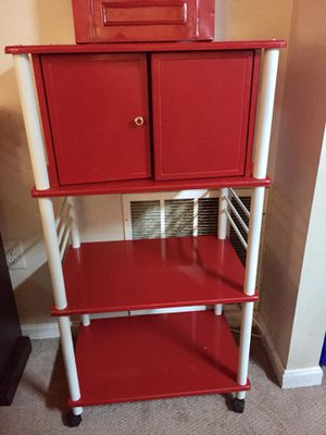 Brand new condition never used Bakers rack and matching red barstools for Sale in Silver Spring, MD