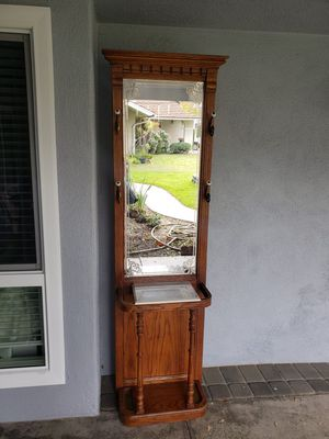 Victorian colonial hallway front entry tree with embossed mirror, marble shelf, and hooks vintage for Sale in Cypress, CA