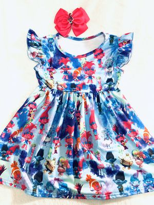 4t Poppy from Trolls dress with bow clip for Sale in National City, CA