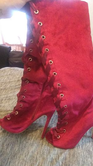 aurore beatifule red swade thigh high boots for Sale in Houston, TX