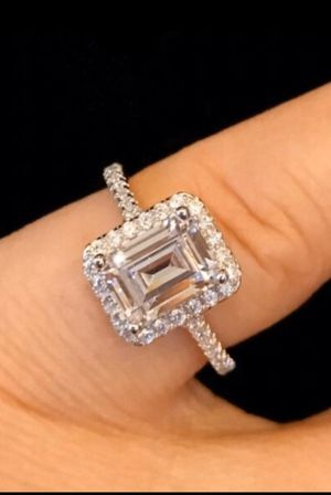 Engagement ring Emerald Cut Halo Setting VVS Cubic Zirconia Simulated Diamond promise wedding bridal SOLID STERLING SILVER size 7 Can be resized at for Sale in Glendale, AZ
