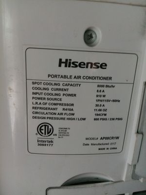 HisHenise portable AC unit, 8000 BTU for Sale in Kenneth City, FL