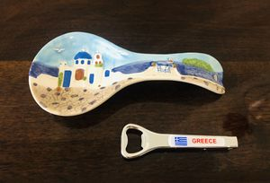 Greece Hand-Painted Ceramic Spoon Rest & Bottle Opener/Corkscrew—NEW for Sale in Miami, FL