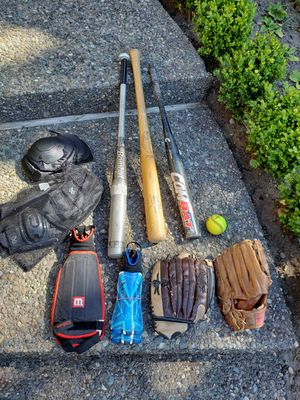 Baseball bats, gloves, safety gear for Sale in Federal Way, WA
