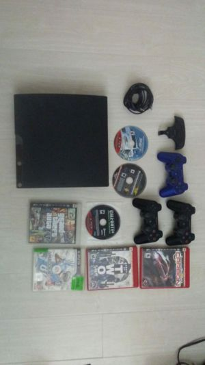 PS3 with 3 controllers and games for Sale in Miami, FL