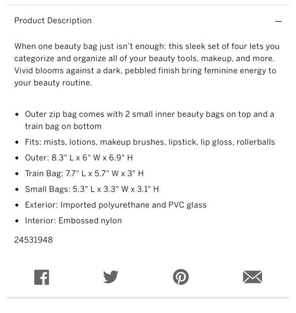 Victoria Secret make up bag- 4 in 1 beauty bag set- PICK UP RIVERSIDE