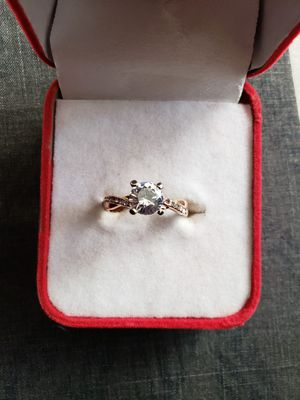 Newest women's fashion sterling silver ring two tone 18 k rose gold princess wedding band size 9 for Sale in Moreno Valley, CA