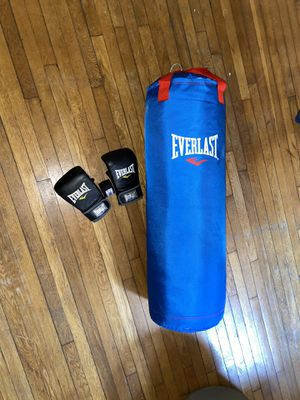 Professional Everlast boxing set comes with gloves and wraps for Sale in Quincy, MA