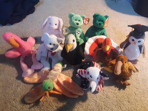 Ty Beanie Baby Original 2000 Baldy, Valentino, Wise, Gobbles, Erin, Kicks, Pinky, Hoppity for Sale in Herndon, VA
