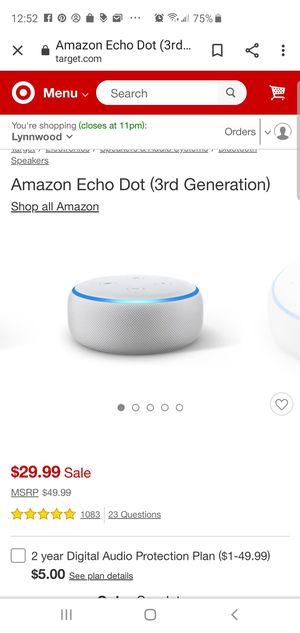 Echo dot 3rd generation for Sale in Mill Creek, WA